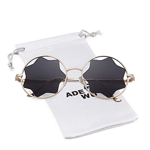 Round Sunglasses Trendy Unisex Glasses Star Mirrored Lens Circle Sunglasses -