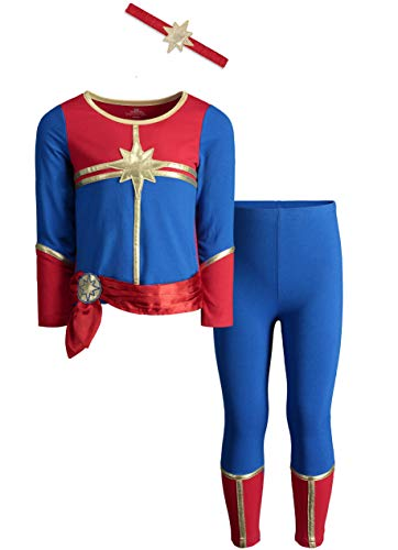 Captain Marvel Toddler Girls Costume Long Sleeve T-Shirt Leggings & Headband Set 4T -