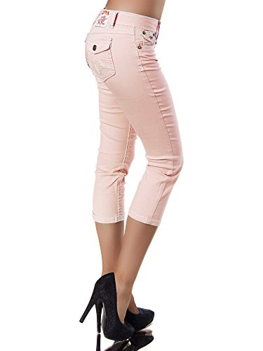 Inconnu Damenjeans Caprijeans Dicke Saumon K900 Naht Jeans Caprihose Capri Hose Damen Bermuda ffwaX