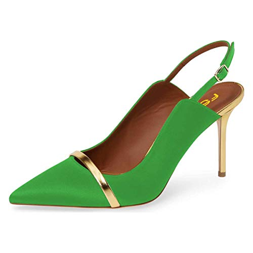 - FSJ Women Classy Pointed Toe Thin High Heels Slingback Pumps Office Prom Dress Shoes Size 13 Green