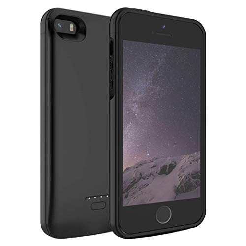 Battery Case for iPhone 5/5S/SE,FNSON 4000mAh Portable Charger Case Upgraded Version Extended Battery Pack Protective Backup Charging Case for iPhone 5/5S/SE Power Bank - Black(4.0 inch)