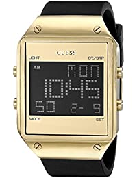 Mens U0595G3 Trendy Gold-Tone Stainless Steel Watch with Digital Dial and Black Strap Buckle