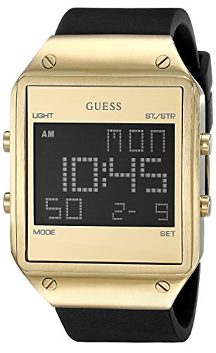 GUESS Men's U0595G3 Trendy Gold-Tone Stainless Steel Watch with Digital Dial and Black Strap Buckle (Guess Steel Watch)