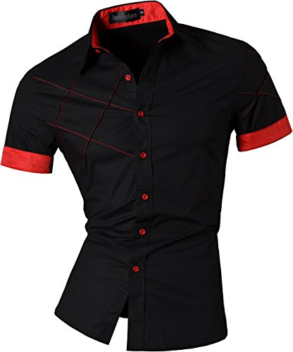 jeansian Homme Chemises Casual Shirt Tops Mode Men Slim Fit Z003 Black XL