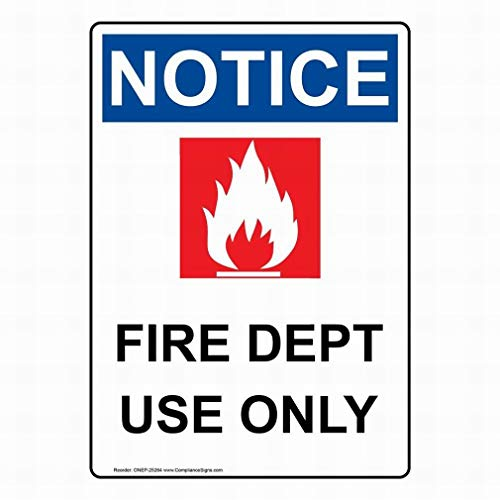 PaBoe OSHA Notice Fire Dept Use Only Sign Safety 8x12 Tin Metal Signs Road Street Sign Outdoor Decor Caution Signs