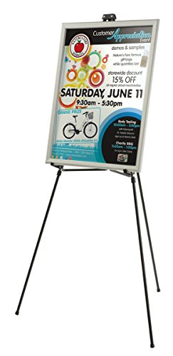 Display Portable Poster (Displays2go Portable Easel with Adjustable Height for Tabletop or Floor Standing Use, Aluminum Black (EASEL3364))