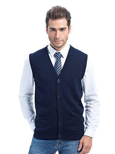 Choies Men's Navy V-neck Button Down Pockets Cotton Knit Sweater Vest Of Various Colors 2XL