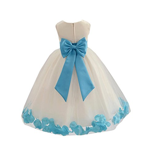 Wedding Pageant Flower Petals Girl Ivory Dress with Bow Tie Sash 302a 16 -