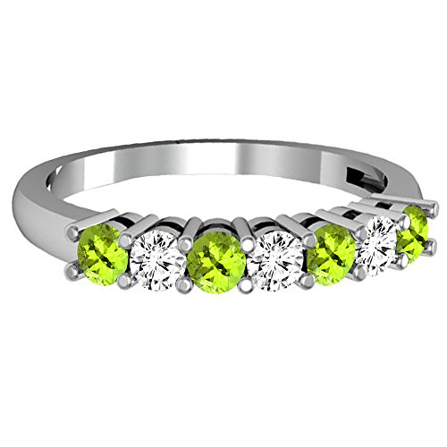 Dazzlingrock Collection 14K Round Peridot & White Diamond Ladies 7 Stone Wedding Band Ring, White Gold, Size 8 by Dazzlingrock Collection (Image #1)