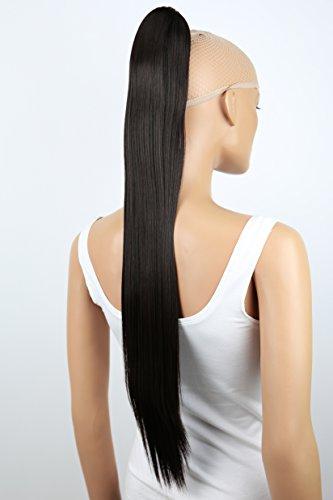 PRETTYSHOP Clip de en las extensiones postizos extensiones de cabello pelo liso largo hechos de fibras sinteticas resistentes al calor 70cm Marron oscuro # 2 H170