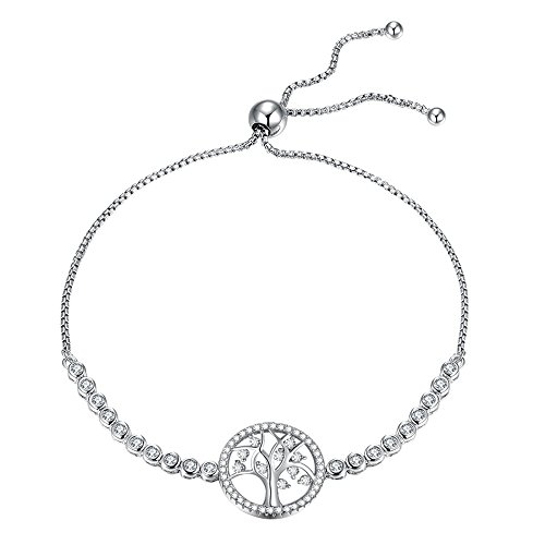 Kaletine Round Tree of Life Tennis Bracelet Sterling Silver 925 Cubic Zirconia CZ Adjustable Anchor Chain 10