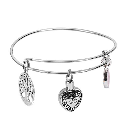 ZARABE With Me Always Heart Urn Bracelet Cremation Jewelry