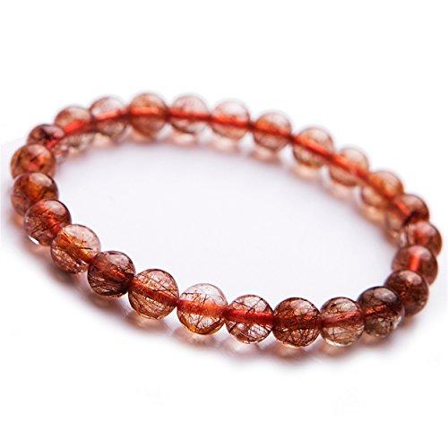 - LiZiFang Brazil Natural Copper Hair Rutilated Quartz Crystal Round Bead Stretch Bracelet 8mm