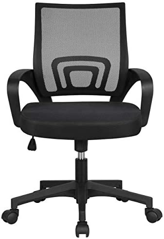 YAHEETECH Office Chairs Ergonomic Computer Chair Mid Back Mesh Desk Chair Lumbar Support Modern Executive Adjustable Rolling Swivel Chair Black