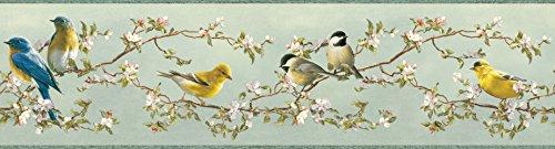 - Chesapeake HTM48512B Louise Light Blue Songbird Portrait Wallpaper Border