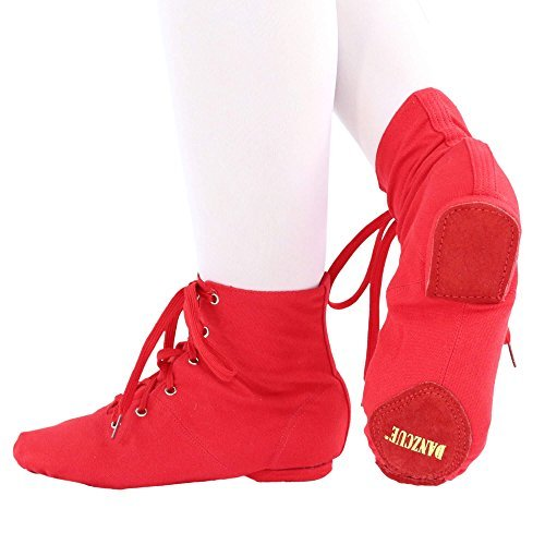 Shoes Danzcue up Women's Canvas Boot Lace Red Jazz rZTZwYxSq