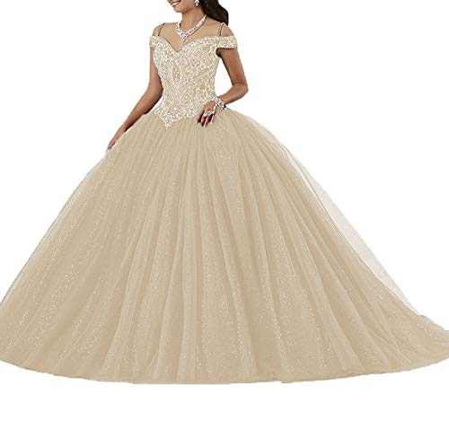 (Graceprom Women's Puffy Beaded Crystal Quinceanera Dresses Ball Gown Sweet 16 Dresses 12)