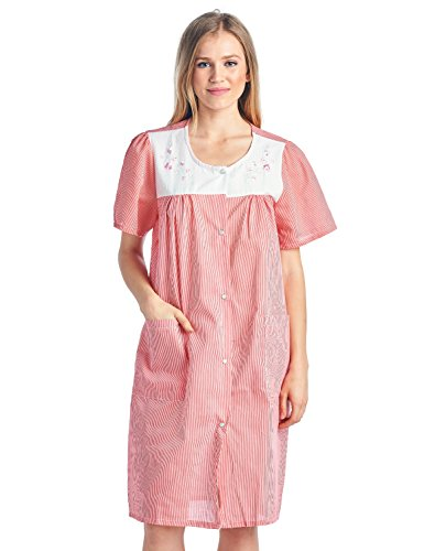 - Casual Nights Women's Short Sleeve Snap-Front Lounger Duster House Dress - Red Stripe - Small