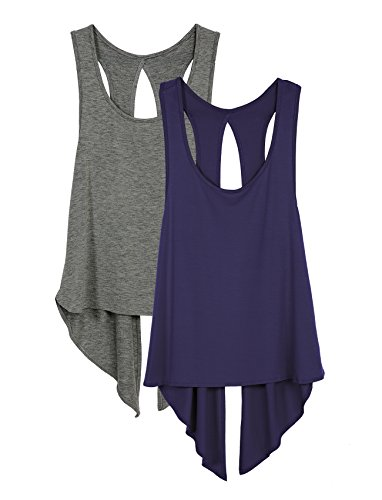 icyzone Sexy Yoga Tops Workout Clothes Racerback Tank Top for Sport Women (L, Charcoal/Purple) ()