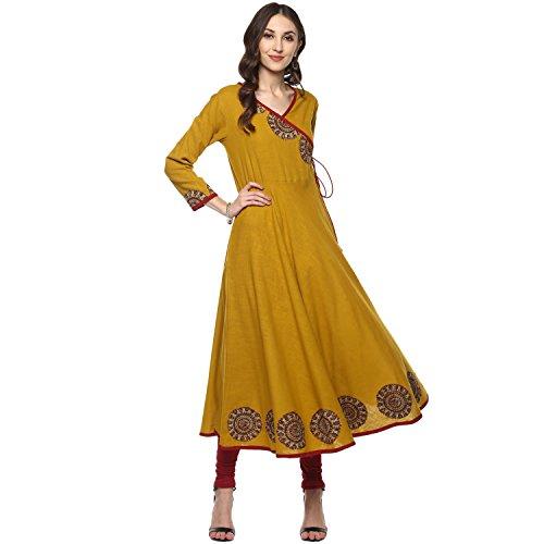 (Yash Gallery Indian Tunic Tops Women's Cotton Slub Angrakha Style Anarkali Kurta (Mustard, L))