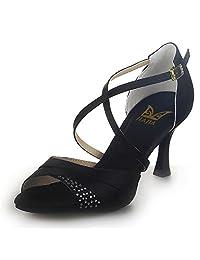 JIA JIA J20522 Women's Satin Sandals Flared Heel Latin Salsa Performance Dance Shoes