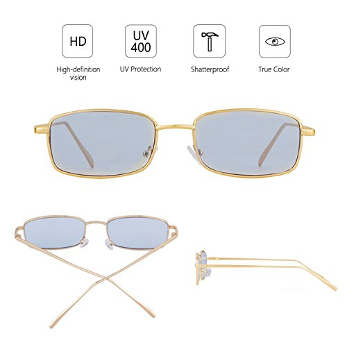 Women Retro Glasses Fashion Men Lens Square Sunglasses ADEWU Frame Blue for Gold wtIY4q