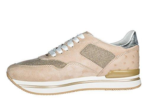 Sneakers Beige Women's Hogan Suede Trainers Shoes H222 qzZInxg1Cw