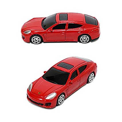 krutti 1:64 Scale Mini car Porsche Panamera Turbo red Toy auto (3.5 inch