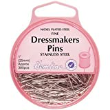 Hemline Stainless Steel Dressmaking Extra Fine Pins 26mm, 380pcs by Hemline