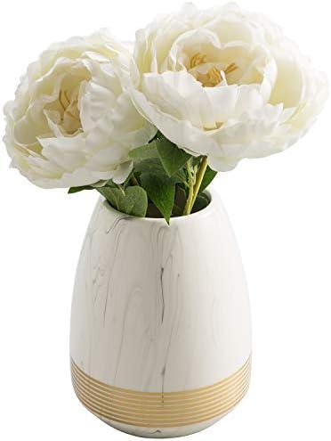 MyGift White Marble Style Ceramic Flower Vase with Gold Detailing