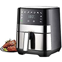 CHENJIU Air Fryer 1500W with Digital Display, Timer and Fully Adjustable Temperature Control for Healthy Oil Free & Low Fat Cooking
