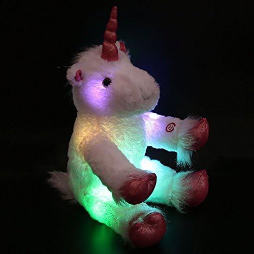 WEWILL Marque LED Luminous géant Stuffed Unicorn avec Heavenly White Plush, 16-inch / 40CM