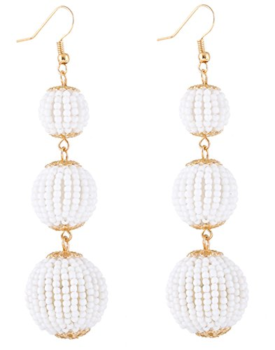 NLCAC Bead Ball Earrings Triple Dangle Ear Drop for Women(White)