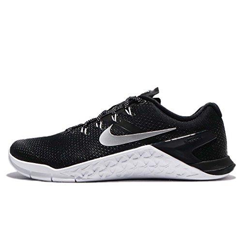 (NIKE Womens Metcon 4 Training Shoe Black/Metallic Silver-White-Volt Glow)
