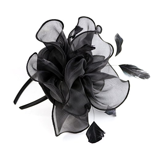 MOONYUE Womens Party Organza Feather Flower Fascinator Hat Clip Head Band Black