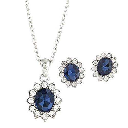 JSDY Womens Girls Rhinestone Blue Ear Stud Earring Necklace Fashion Jewelry Set