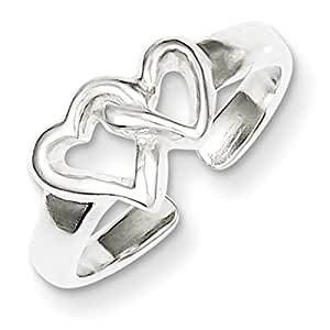 Lex & Lu Sterling Silver Solid Heart Toe Ring