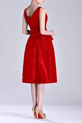 Tea V A Bridesmaid Length Dress Pleated neck Taffeta Formal Modest line bridesmaids Red Ax8gqSfn