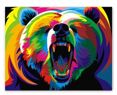 Prime Leader Wooden Framed Diy Oil Painting, Paint By Number Kit Colour Painting Bear 16x20 Inch