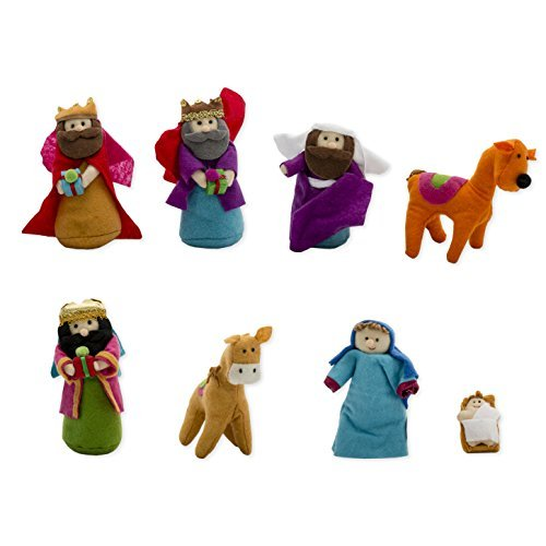 8-piece Set, Fabric Christmas Nativity Set with Wise Men & Animals, 6 Inches Tall ()