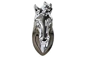 Urban Trends Ceramic Horse Head Wall Decor, Polished Chrome Silver