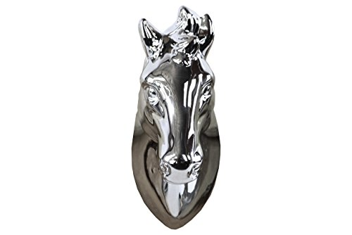 Urban Trends Ceramic Horse Head Wall Decor, Polished Chrome Silver>