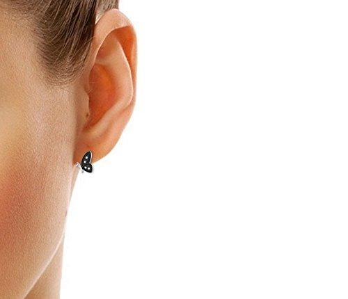 Libertini Boucle d'oreille argent 925 plaque or Jaune serti de Diamant en forme de Papillon