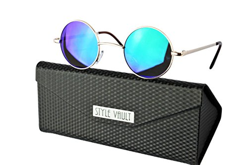 Metal Vault Sunglass Case (V143-FC Style Vault X-small Size Lens Round Metal Sunglasses (B3399F Gold-emerald green mirror w case, clear))