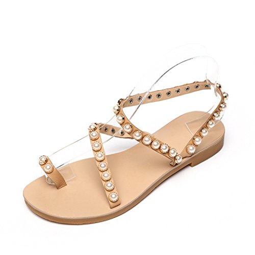 JUWOJIA Summer New Style Leather Leather Sandals Female Flat Heels Fashion Casual Toe Pearl Antiskid Women's Shoes. Color del albaricoque
