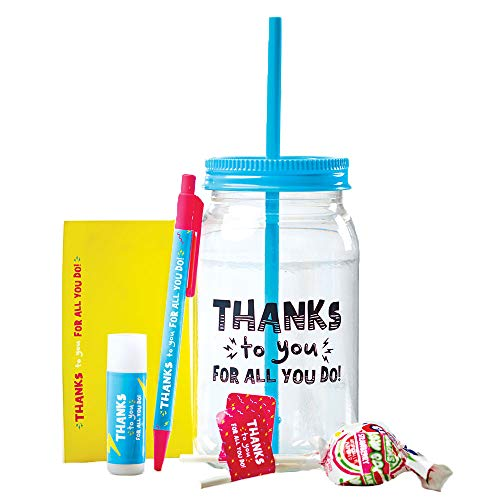 Cute Mason Jar Gift Set - Clear Plastic Mason Jar Tumbler with Lid and Straw, Click Ballpoint Pen, Vanilla Chapstick, 25 Sheet Notepad, and 2 Blow Pops - Blue and Pink - Employee Gift - Bulk Order Opt