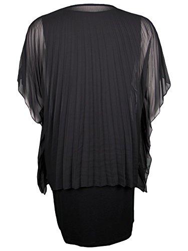 Doris Plissee Kleid Doppellagig Schwarz Streich Damen mit qAaq1vfWw