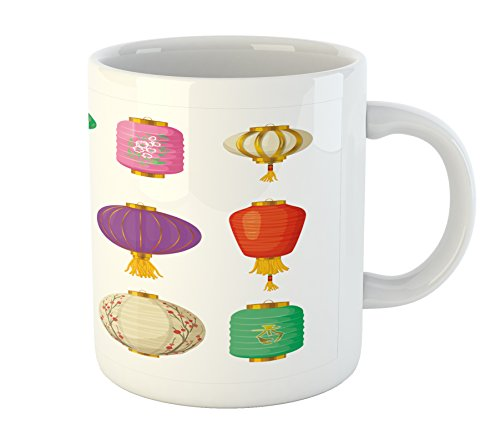 Ambesonne Lantern Mug, Chinese Celebration Culture Far East New Year Cartoon Style Festival Tassels, Printed Ceramic Coffee Mug Water Tea Drinks Cup, Multicolor (Easter Lanterns)