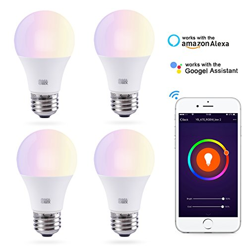 Smart LED Light Bulb, Smalux A19 E26 WiFi Warm White and RGB Color Tunable Dimmable Smart Home Bulb, 800 Lumens 75W Equivalent LED Bulb with Timer Function,Work with Alexa/Google Home/IFTT,Pack of 4 by Smalux