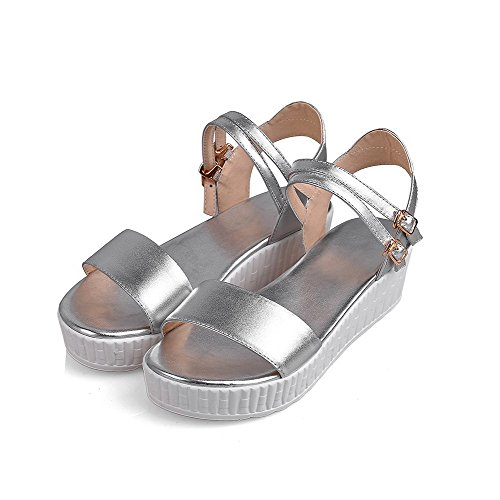 Soft Toe Heels Womens Buckle Sandals Silver Solid Material Open Kitten AllhqFashion x8ZOwnCx